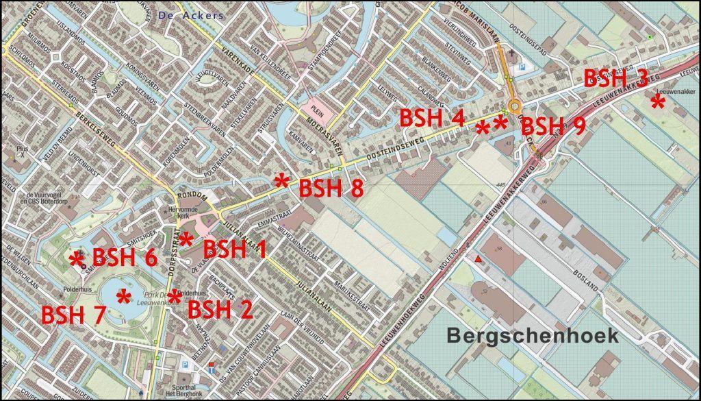 Plattegrond monumenten Bergschenhoek zonder 5 en 10