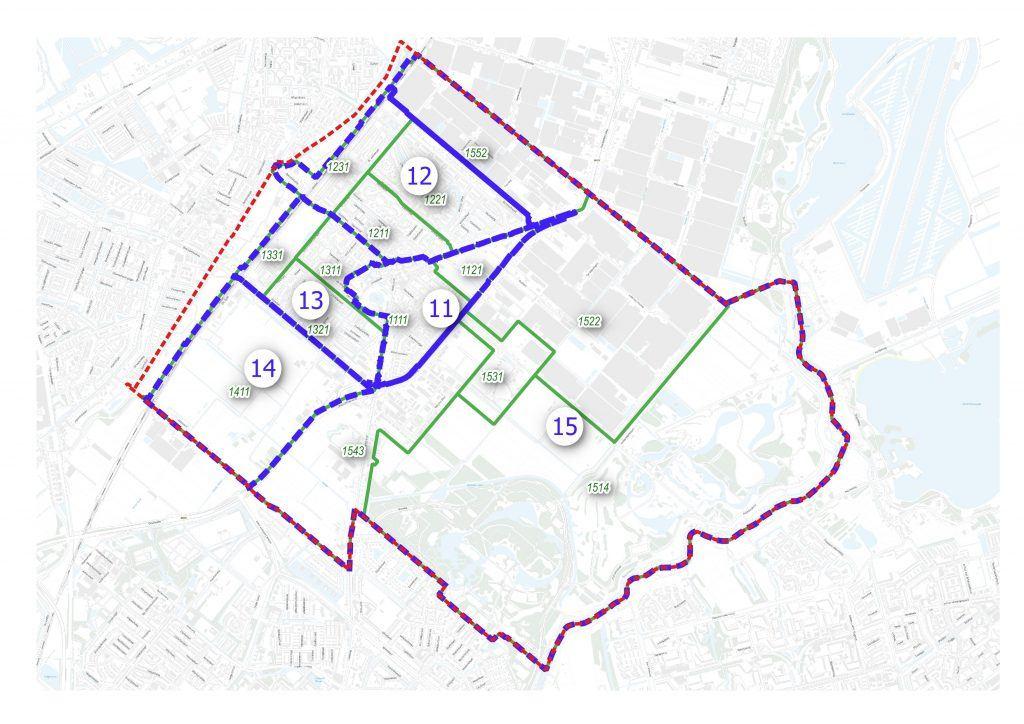 Bergschenhoek wijk- en buurtindeling met nummers die corresponderen met de lijst van Bergschenhoek