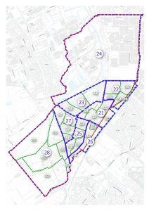 Berkel en Rodenrijs wijk- en buurtindeling met nummers die corresponderen met de lijst van Berkel en Rodenrijs